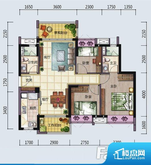 各个空间方正,后期空间利用率高。全明通透的户型,居住舒适度较高。整个空间有充足的采光,这一点对于后期居住,尤其重要。卫生间门朝向入户走廊,导致区域空气不好,舒适度差。卧室作为较为重要的休息空间,尺寸合适,有利于主人更好的休息;客厅作为重要的会客空间,尺寸合适,能够保证主人会客需求。卫生间和厨房作为重要的功能区间,尺寸合适,能够很好的满足主人生活需求。