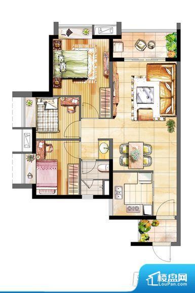 各个空间方正,后期空间利用率高。全明通透的户型,居住舒适度较高。整个空间有充足的采光,这一点对于后期居住,尤其重要。卧室位置合理,能够保证足够安静,客厅的声音不会影响卧室的休息;卫生间位置合理,使用起来动线比较合理;厨房位于门口,方便使用和油烟的排出。各个功能区间面积大小都比较合理,后期使用起来比较方便,居住舒适度高。