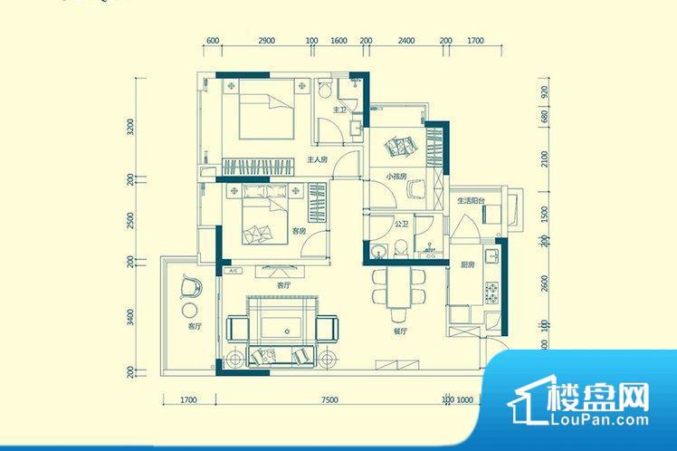 各个空间都很方正,方便后期家具的摆放。整个空间采光很好,主卧和客厅均能够保证很好的采光;并且能真正做到全明通透,整个空间空气好。卧室位置合理,能够保证足够安静,客厅的声音不会影响卧室的休息;卫生间位置合理,使用起来动线比较合理;厨房位于门口,方便使用和油烟的排出。卫生间太小,无法正常使用,对后期生活造成很大影响。
