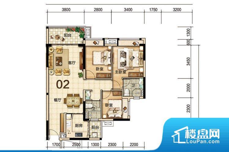 整个空间方正,拐角少,后期利用难度低,提升整个空间的利用率。重要空间非南向或者东向,不能很好的保证采光,居住舒适度不高。卧室位置合理,能够保证足够安静,客厅的声音不会影响卧室的休息;卫生间位置合理,使用起来动线比较合理;厨房位于门口,方便使用和油烟的排出。其他卧室面宽不合理,房间采光不足,居住起来舒适度较低。