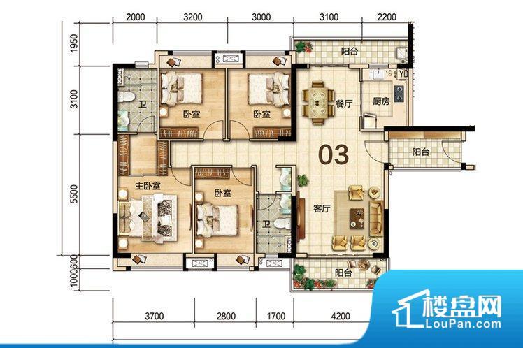 全明通透的户型,入户花园,双阳台设计,居住舒适度较高。整个户型空间布局合理,真正做到了干湿分离、动静分离,方便后期生活。客厅、卧室、卫生间和厨房等主要功能间尺寸以及比例合适,方便采光、通风,后期居住方便。