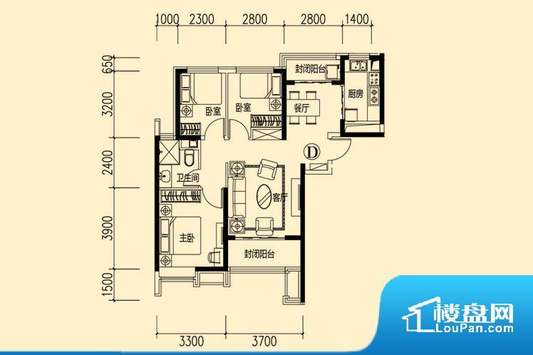 各个空间都很方正,方便后期家具的摆放。非南向或东向,采光不足,西面下午为西晒,夏天时西晒阳光比较热,室内温度变高。北向的下午采光不足,室内需要开灯补光。卧室位置合理,能够保证足够安静,客厅的声音不会影响卧室的休息;卫生间位置合理,使用起来动线比较合理;厨房位于门口,方便使用和油烟的排出。卧室作为较为重要的休息空间,尺寸合适,有利于主人更好的休息;客厅作为重要的会客空间,尺寸合适,能够保证主人会客需
