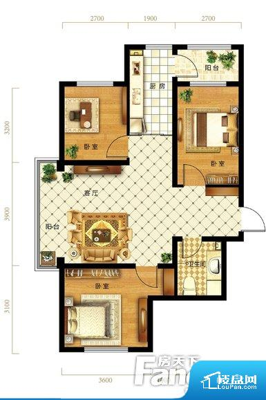 卫生间无对外窗户,采光不好,不利于后期使用过程中的排风透气。卫生间朝向客厅私密性较差,卫生间朝向餐厅产生的气味及细菌对餐厅影响较大,卫生间朝向卧室,产生的气味对卧室有影响。各个空间方正,后期空间利用率高。客厅、卧室、卫生间和厨房等主要功能间尺寸以及比例合适,方便采光、通风,后期居住方便。