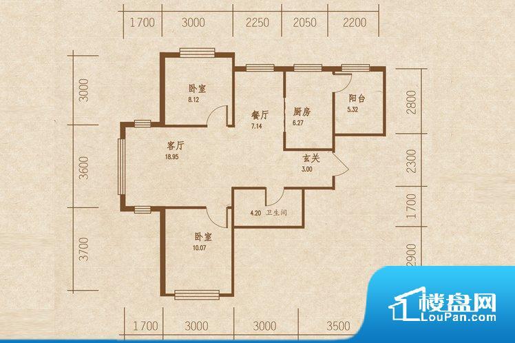 整个户型空间布局合理,真正做到了干湿分离、动静分离,方便后期生活。卧室作为较为重要的休息空间,尺寸合适,有利于主人更好的休息;客厅作为重要的会客空间,尺寸合适,能够保证主人会客需求。卫生间和厨房作为重要的功能区间,尺寸合适,能够很好的满足主人生活需求。