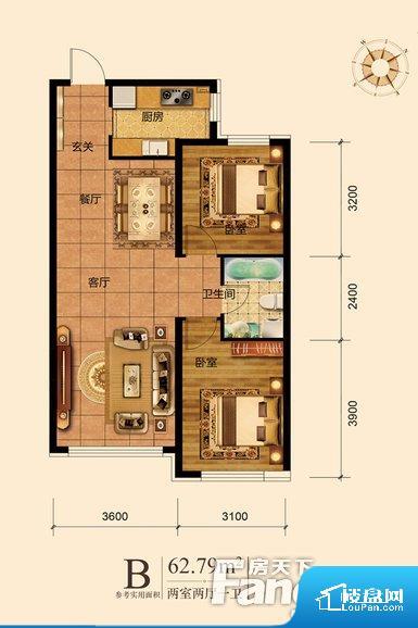 整个空间方正,拐角少,后期利用难度低,提升整个空间的利用率。卫生间如没有窗子,可加管道通风,但是相对来说卫生间有窗户是最好的情况,利于排湿,不会使湿气进到室内。整个户型空间布局合理,真正做到了干湿分离、动静分离,方便后期生活。客厅、卧室、卫生间和厨房等主要功能间尺寸以及比例合适,方便采光、通风,后期居住方便。