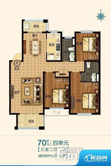 整个空间方正,拐角少,后期利用难度低,提升整个空间的利用率。整个空间采光很好,主卧和客厅均能够保证很好的采光;并且能真正做到全明通透,整个空间空气好。卧室位置合理,能够保证足够安静,客厅的声音不会影响卧室的休息;卫生间位置合理,使用起来动线比较合理;厨房位于门口,方便使用和油烟的排出。客厅、卧室、卫生间和厨房等主要功能间尺寸以及比例合适,方便采光、通风,后期居住方便。公摊相对合理,一般房子公摊基本