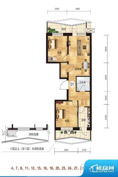 卧室位置合理,能够保证足够安静,客厅的声音不会影响卧室的休息;卫生间位置合理,使用起来动线比较合理;厨房位于门口,方便使用和油烟的排出。各个功能区间面积大小都比较合理,后期使用起来比较方便,居住舒适度高。