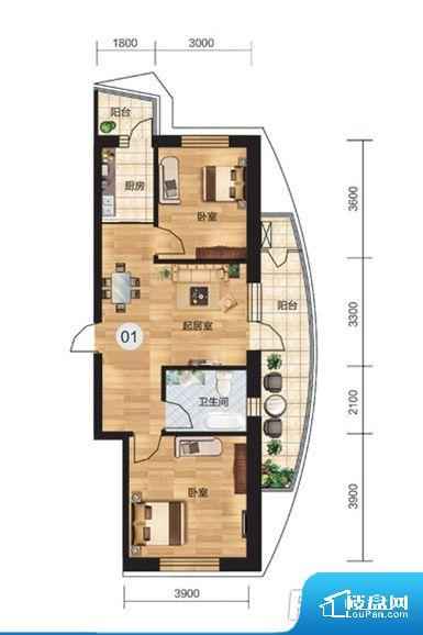 大开间客厅,宽敞明亮,功能多变 厨房连接功能阳台,方便日常储物收纳 南北通透设计,室内采光和通风良好