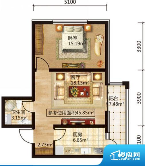 各个空间方正,后期空间利用率高。无对外窗户,通风采光较差,卫生间湿气会加重,不利于身体健康。卧室作为较为重要的休息空间,尺寸合适,有利于主人更好的休息;客厅作为重要的会客空间,尺寸合适,能够保证主人会客需求。卫生间和厨房作为重要的功能区间,尺寸合适,能够很好的满足主人生活需求。