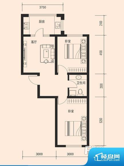 整个空间方正,拐角少,后期利用难度低,提升整个空间的利用率。卫生间无对外窗户,采光不好,不利于后期使用过程中的排风透气。厨房门朝向客厅,做饭时油烟对客厅影响较大。各个功能区间面积大小都比较合理,后期使用起来比较方便,居住舒适度高。