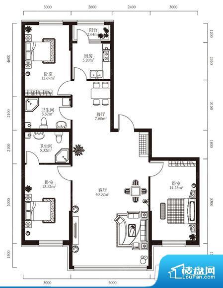 各个空间都很方正,方便后期家具的摆放。卫生间无对外窗户,采光不好,不利于后期使用过程中的排风透气。厨卫等重要的使用较为频繁的空间布局合理,方便使用,并且能够保证整个空间的空气质量。客厅、卧室、卫生间和厨房等主要功能间尺寸以及比例合适,方便采光、通风,后期居住方便。