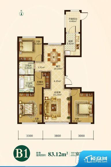 各个空间方正,后期空间利用率高。无对外窗户,通风采光较差,卫生间湿气会加重,不利于身体健康。卧室门朝向客厅,外人可以一目了然的看到卧室,私密性较差。卧室作为较为重要的休息空间,尺寸合适,有利于主人更好的休息;客厅作为重要的会客空间,尺寸合适,能够保证主人会客需求。卫生间和厨房作为重要的功能区间,尺寸合适,能够很好的满足主人生活需求。公摊高于15%且低于25%,整体得房率不算太高。