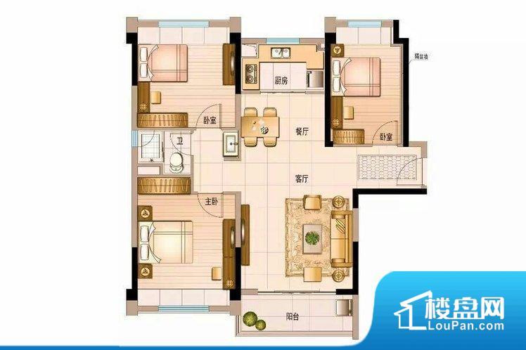 各个空间都很方正,方便后期家具的摆放。整个空间采光很好,主卧和客厅均能够保证很好的采光;并且能真正做到全明通透,整个空间空气好。厨房门朝向,做饭产生油烟和噪音对客厅有影响。卧室作为较为重要的休息空间,尺寸合适,有利于主人更好的休息;客厅作为重要的会客空间,尺寸合适,能够保证主人会客需求。卫生间和厨房作为重要的功能区间,尺寸合适,能够很好的满足主人生活需求。公摊高于15%且低于25%,整体得房率不算