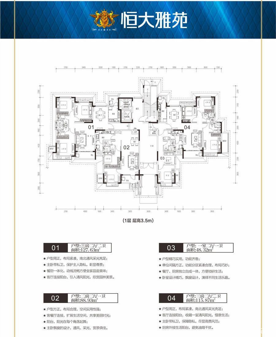 恒大雅苑53-1层户型图