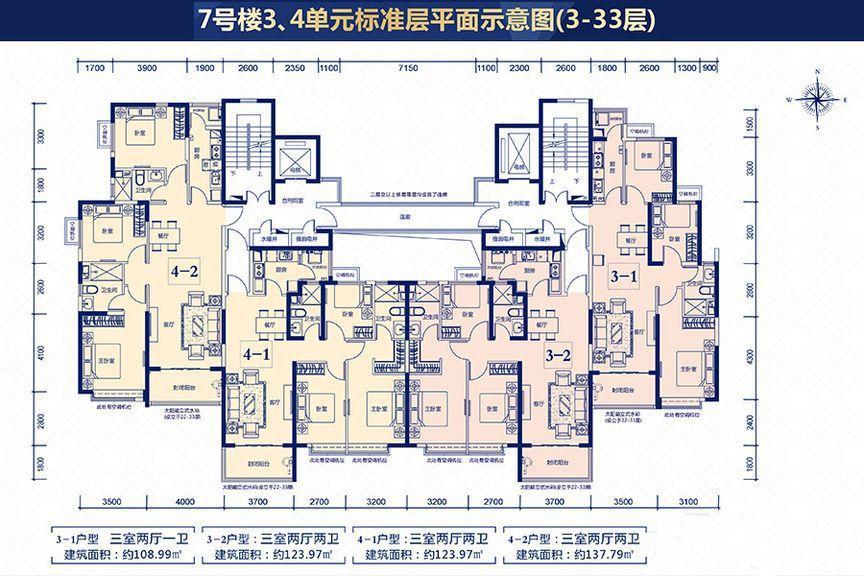 7号楼3、4单元平面户型
