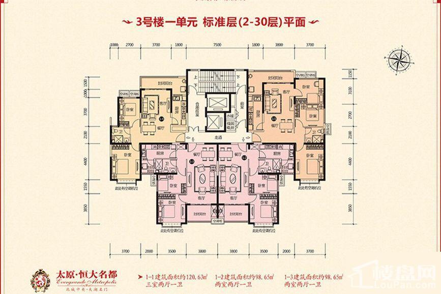 3#1单元标准层(2-30层)户型