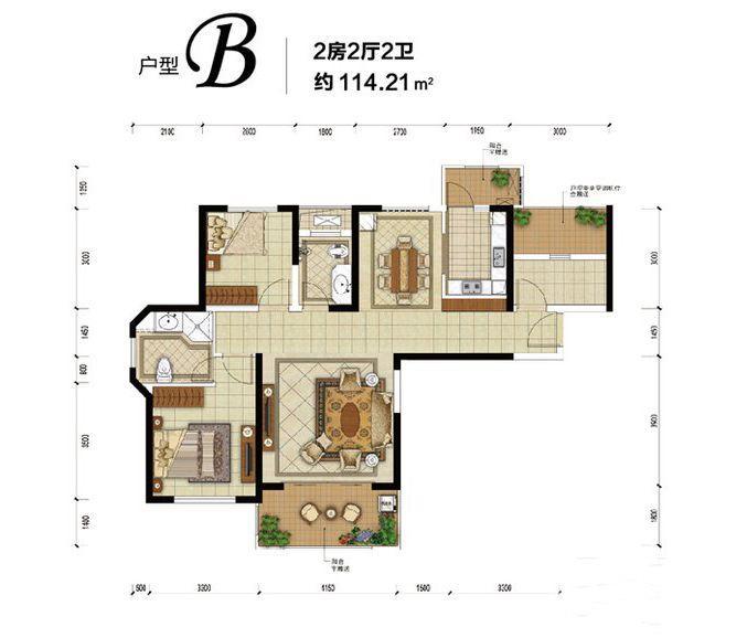 惠天然梅岭国际三期6、7、9号栋B户型