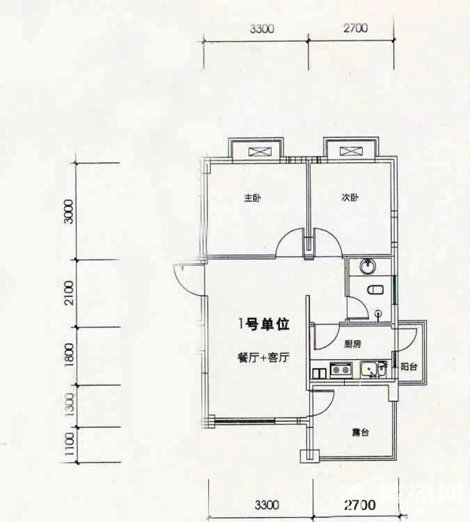 北海南岸2#、3#奇数层01号房户型图