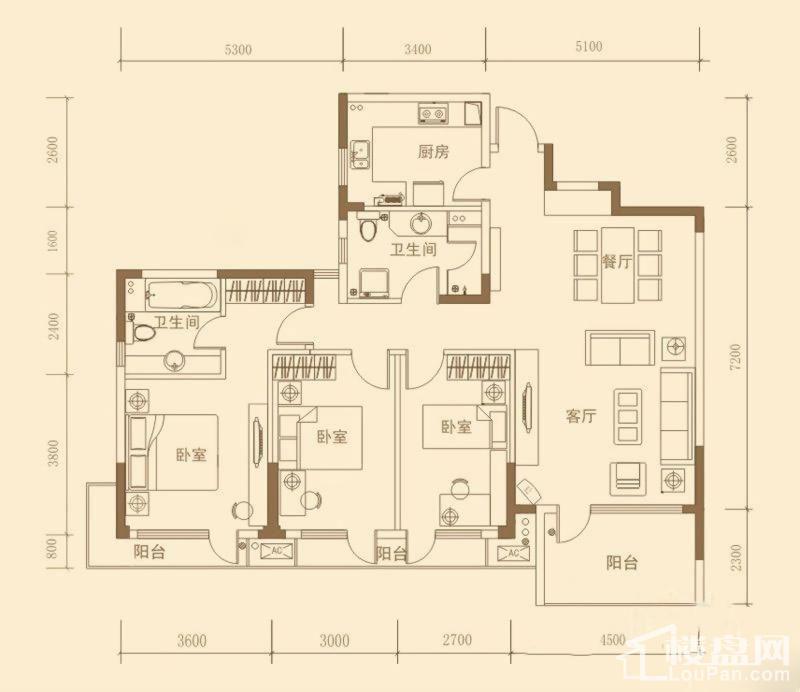 昊海·梧桐C1户型图3-2-2-139.02