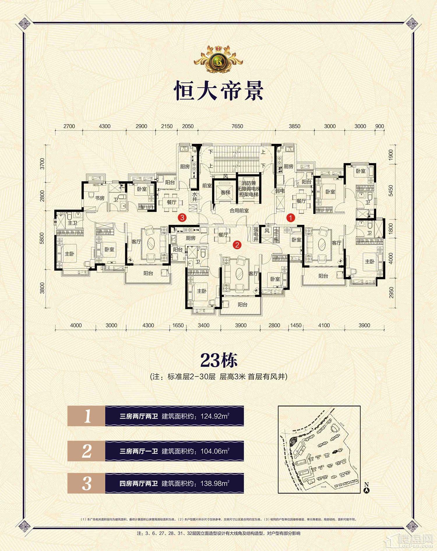 郴州恒大帝景23栋户型图