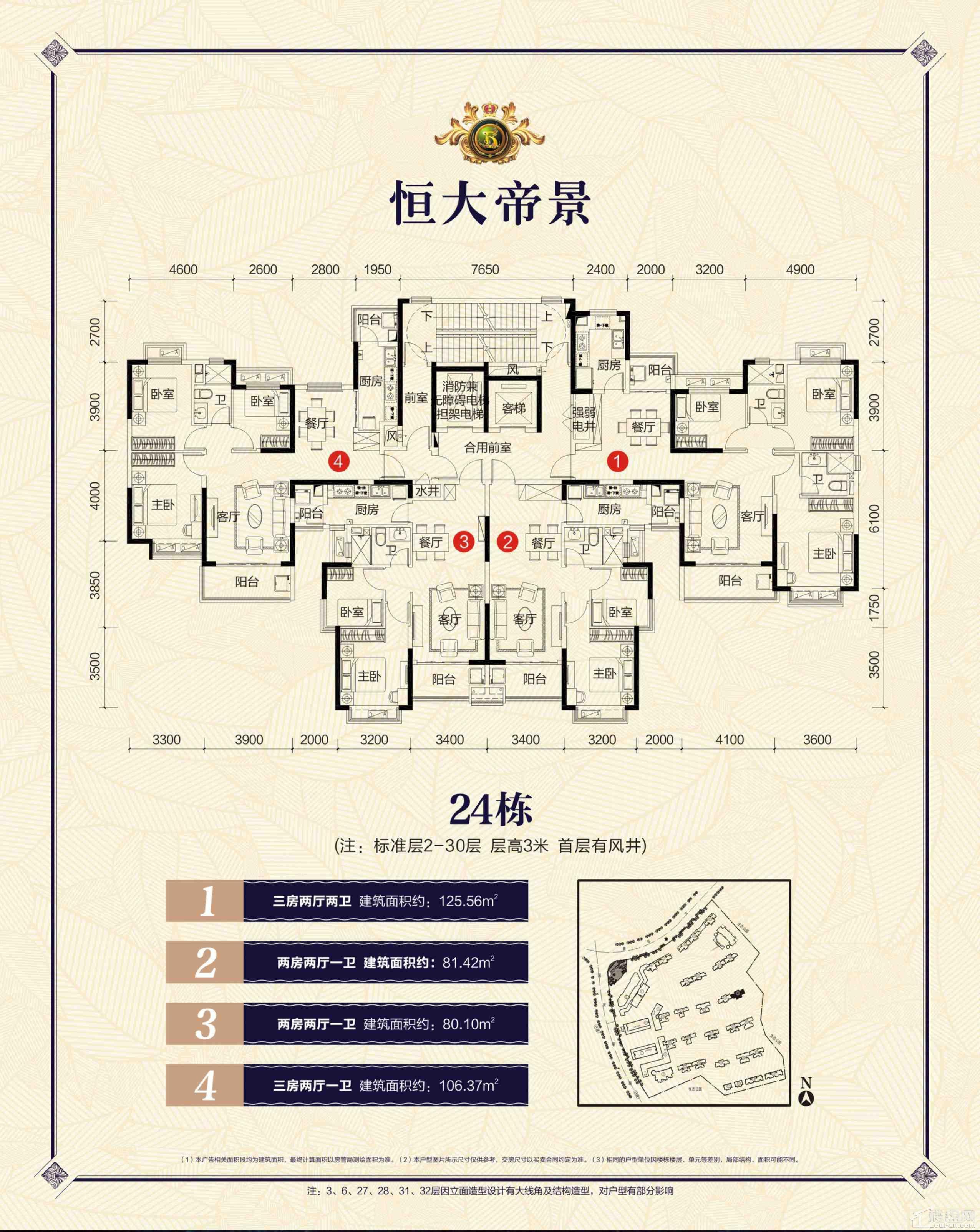 郴州恒大帝景24栋户型图