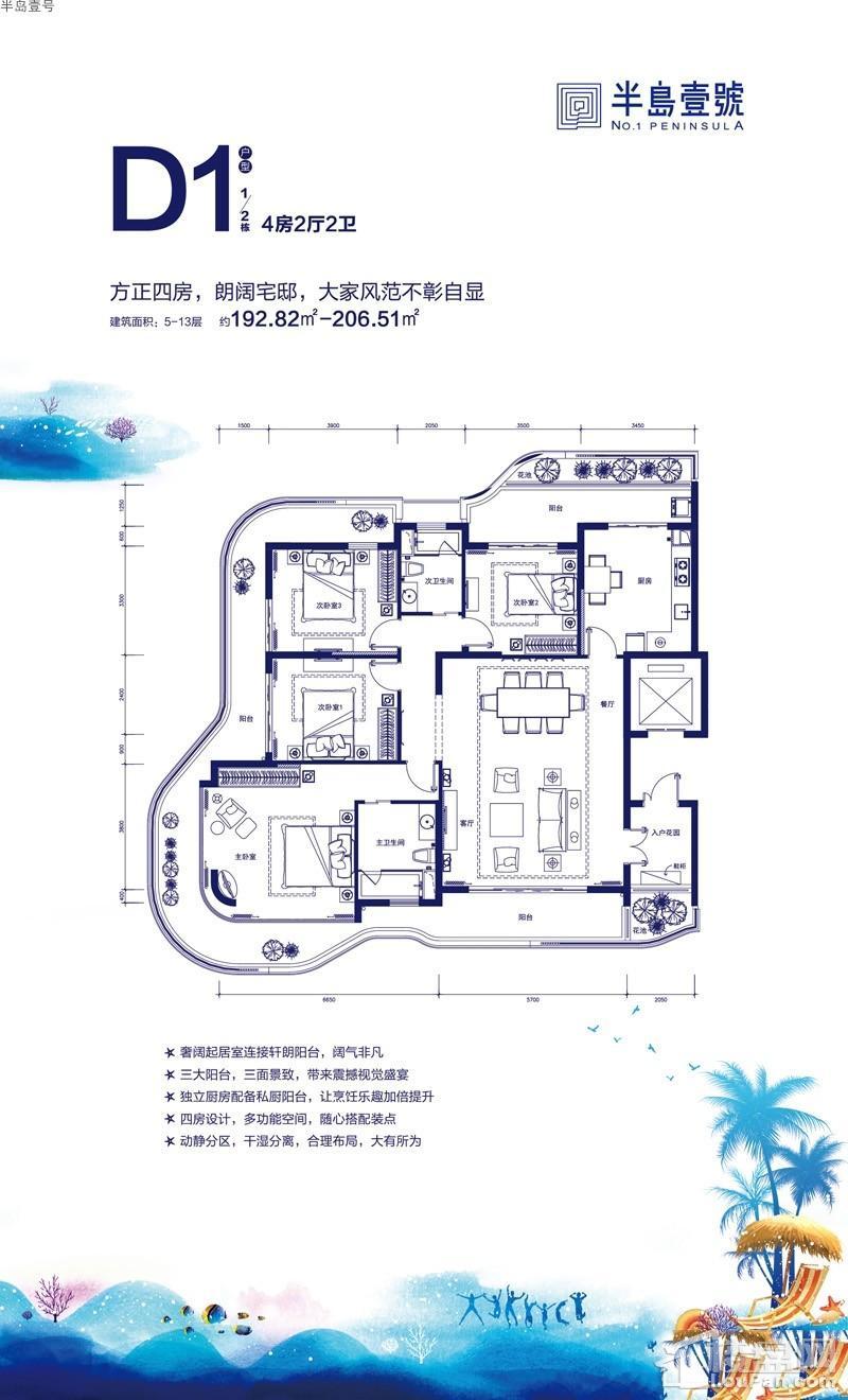 半岛壹号1/2#公寓D1户型图