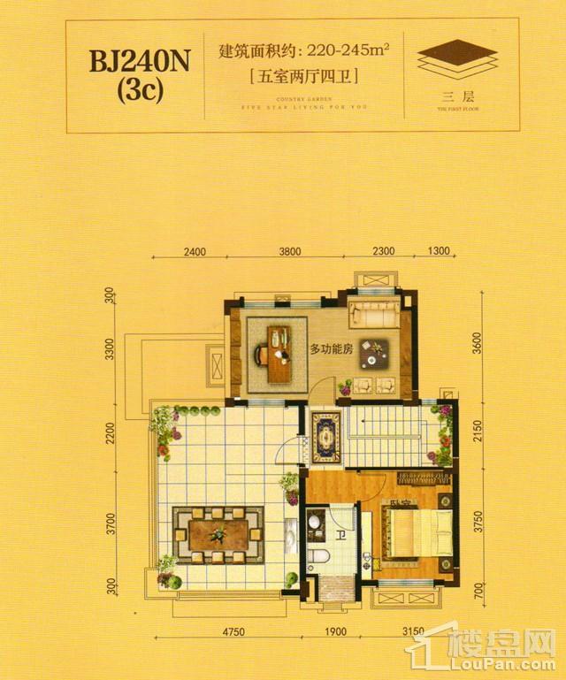 澧州碧桂园一期BJ240N(3C)三层户型图