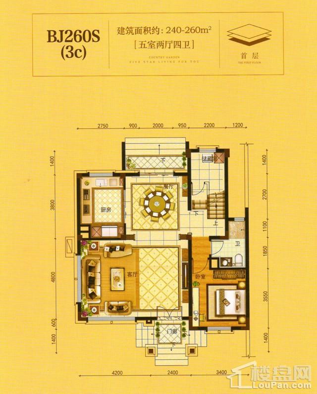 澧州碧桂园一期BJ260S(3C)首层户型图