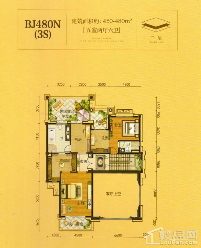 澧州碧桂园一期BJ480N(3S)二层户型图