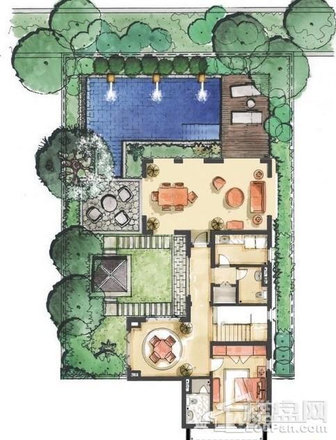 远洋华墅5A户型花园层平面图