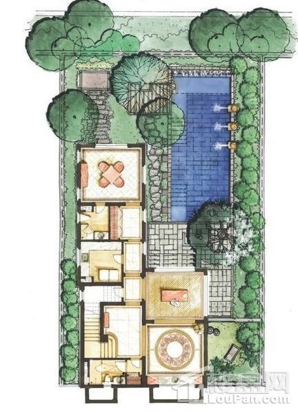 远洋华墅6A户型花园层平面图