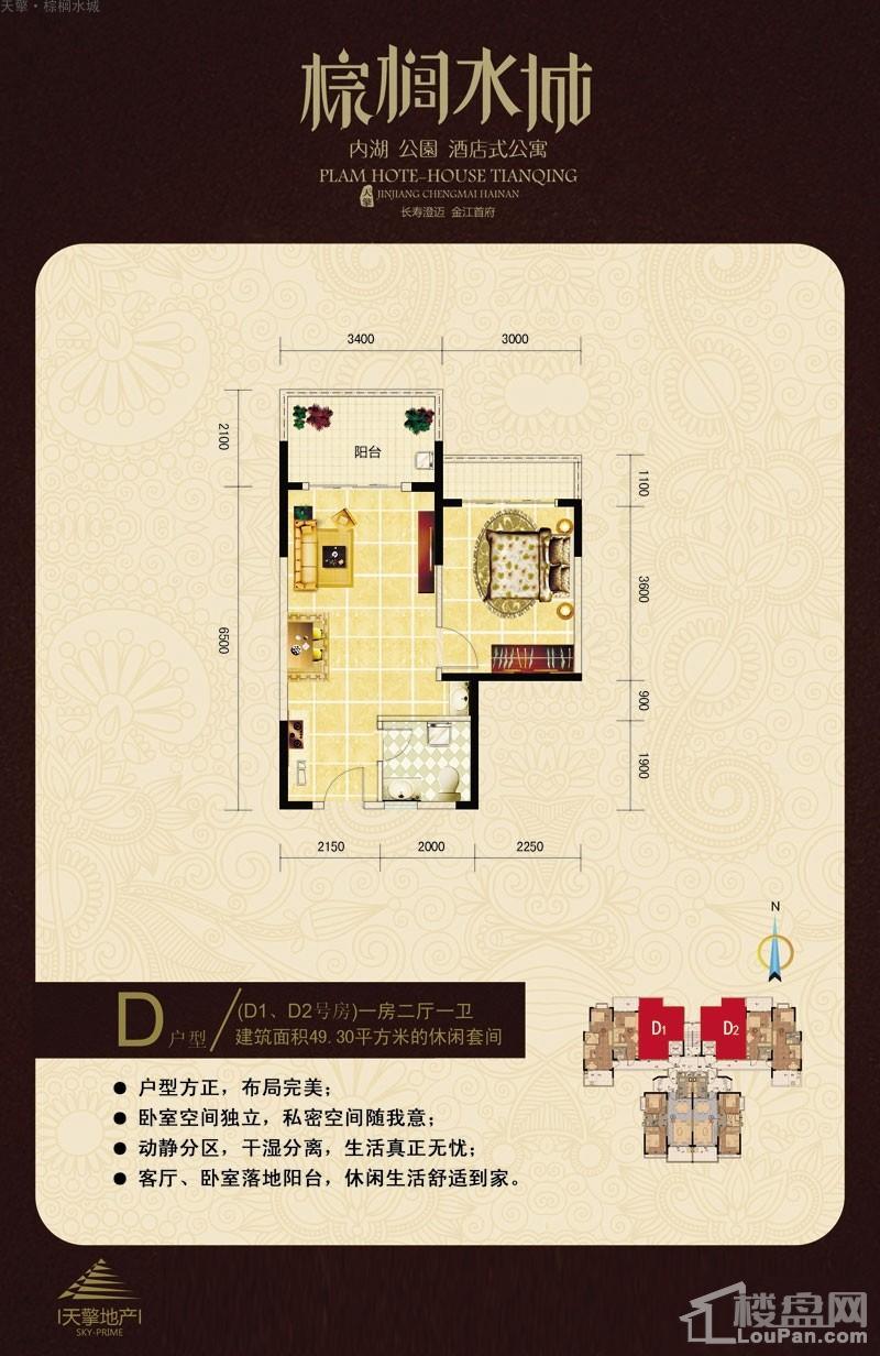 天擎·棕榈水城酒店式公寓D户型图