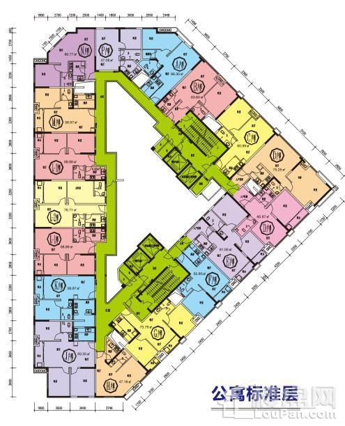 金伯利中心公寓户型分布图