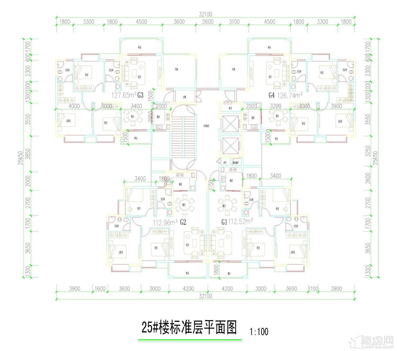 五岭国际25栋标准层平面图