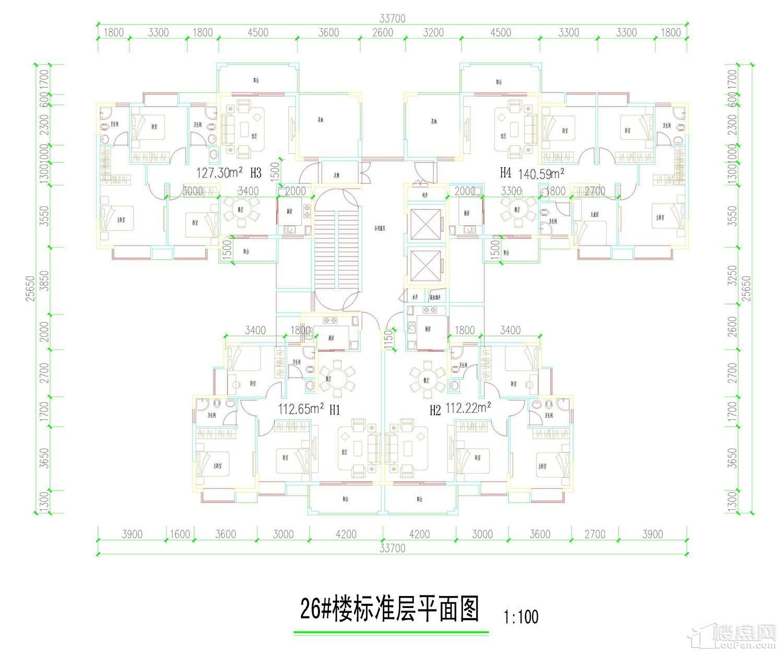 五岭国际26栋标准层平面图