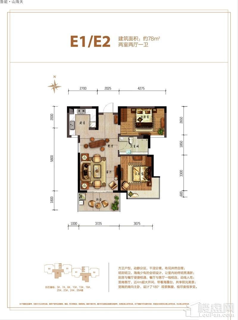 鲁能·山海天-淇水湾5号E1/E2户型图