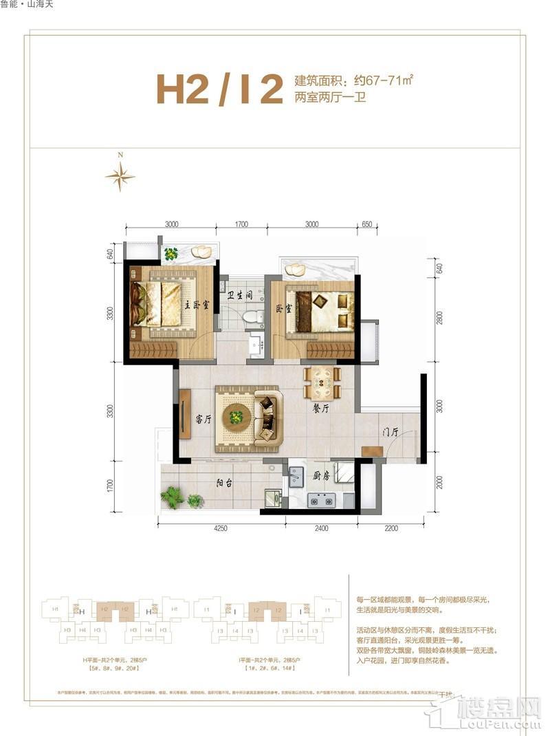 鲁能·山海天-海石滩2号H2/I2户型图