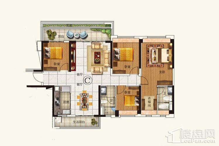 C户型建面142平的四房