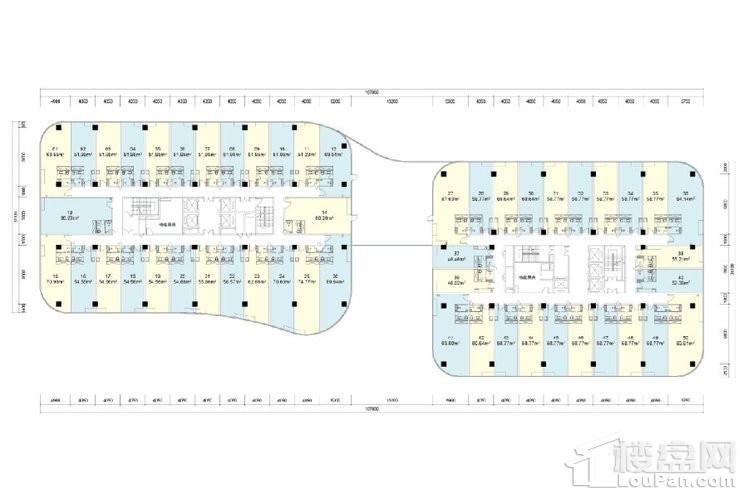 办公楼7-13层户型图
