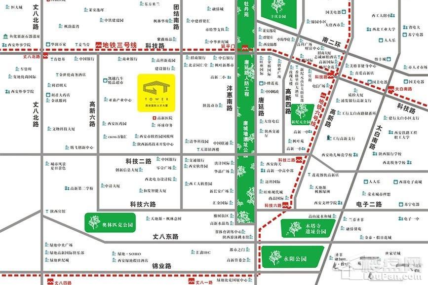 GT-Tower西安国际人才大厦位置图