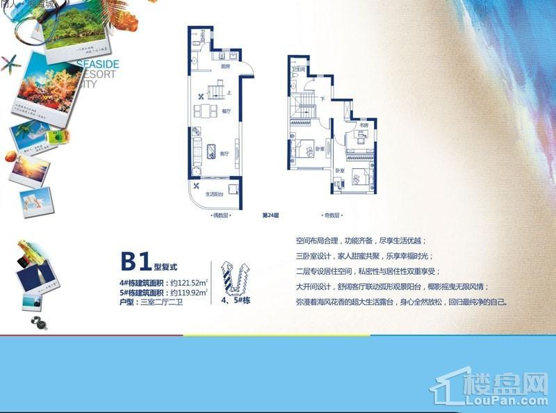 同人·湘海城4、5号楼B1复式户型图
