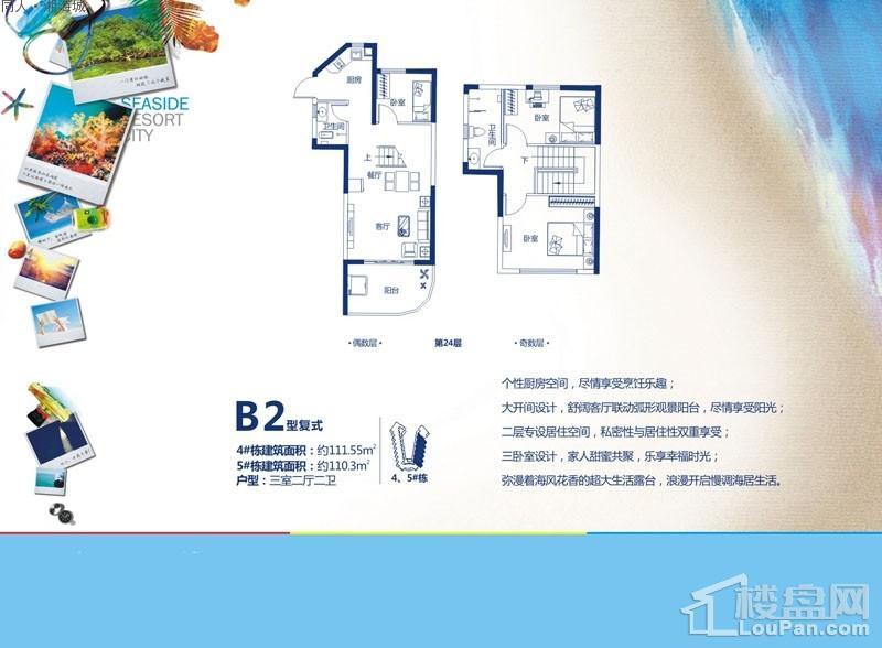 同人·湘海城4、5号楼B2复式户型图