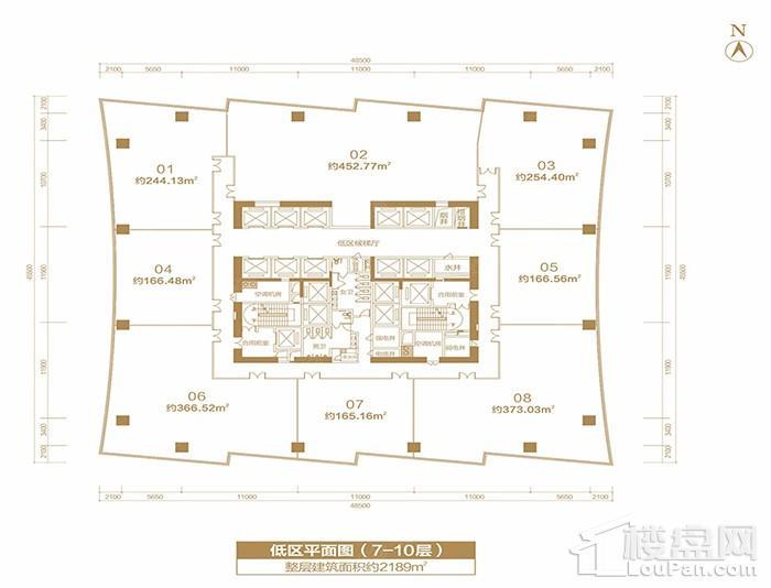 福晟国际金融中心楼层平面图-低区平面层(7-10层)