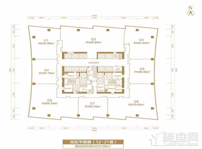福晟国际金融中心楼层平面图-低区平面层 标准层(12-21层)