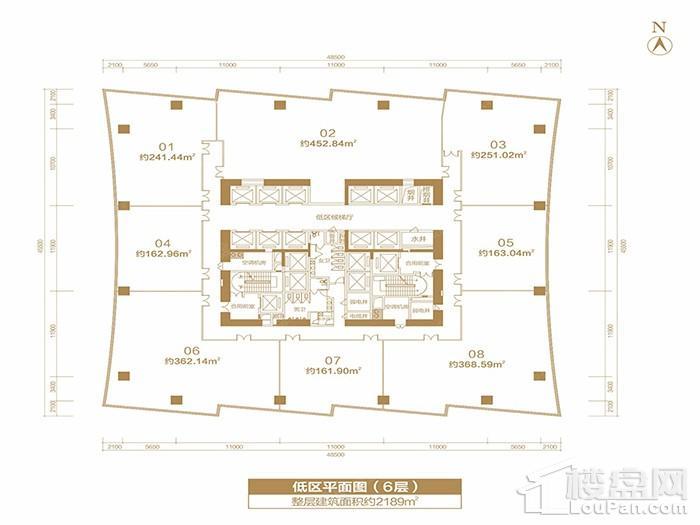 福晟国际金融中心楼层平面图-低区平面层(6层)