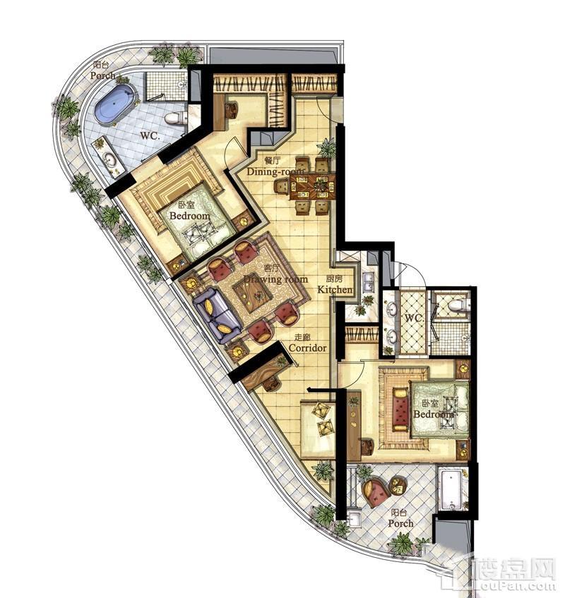 亚洲湾高层海景1#公寓T、E户型