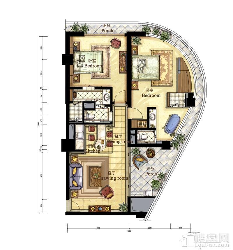 亚洲湾高层海景1#公寓P、T户型