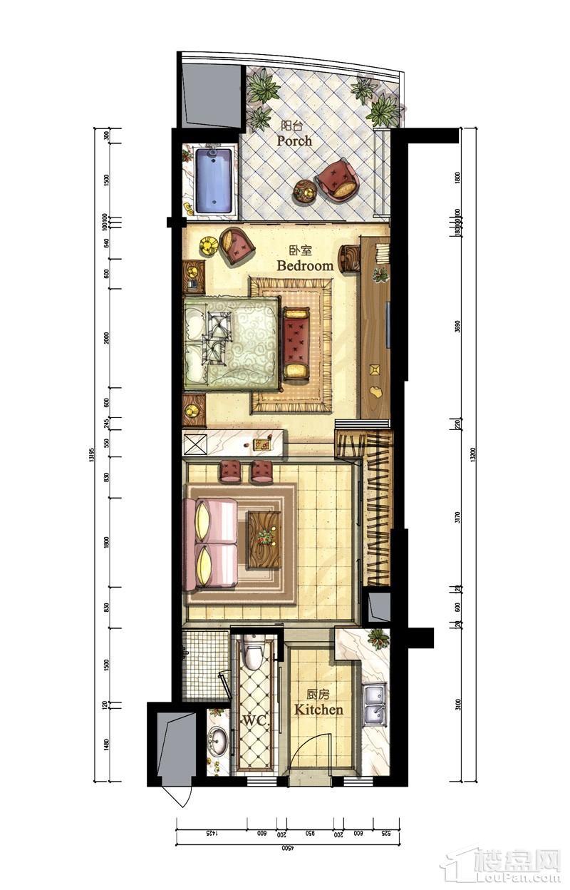 亚洲湾高层海景1#公寓E、F户型