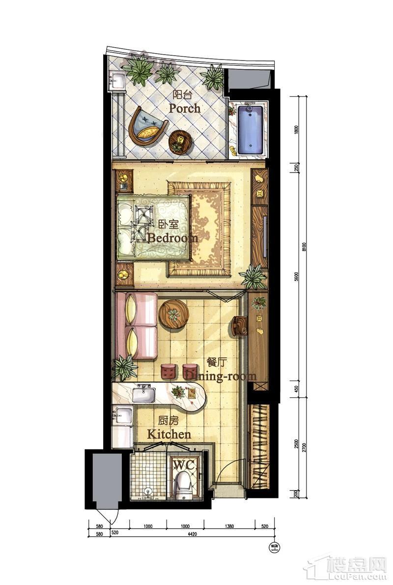 亚洲湾高层海景1#公寓62平户型
