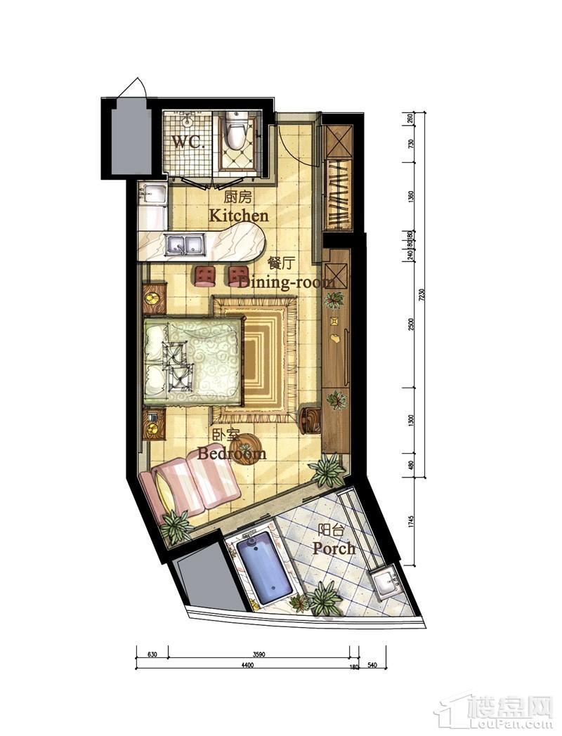 亚洲湾高层海景1#公寓52平户型